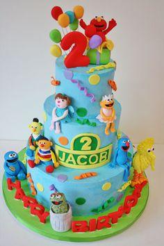 Sesame Street Cake, like the dots and ribbon detail Custom Birthday Cakes, Cool Birthday Cakes, 2nd Birthday, Birthday Ideas, Fondant Cakes, Cupcake Cakes, Little Boy Cakes, Cake Designs For Kids, Sesame Street Cake