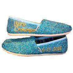 c0b8daf89cde Womens Sparkly Glitter Toms Flats shoes bridal Bride Wedding Comfortable  Cinderella Blue fairytale