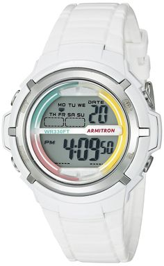 Armitron Sport Women's 45/7045RNB Multi-Color Accented White Resin Strap Watch. 37mm Case Diameter. White resin case with metalized chrome top ring; multi-colored outer dial; LCD display; White textured resin strap with buckle closure. Quartz Movement. Water Resistant To 330 Feet.