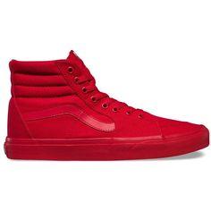 Vans Mono Canvas Sk8-Hi ($60) ❤ liked on Polyvore featuring men's fashion, men's shoes, men's sneakers, red, mens cap toe shoes, vans mens shoes, mens lace up shoes, mens high top sneakers and mens red canvas shoes