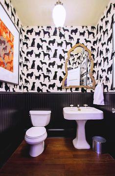 Fun wallpapered bath Madison Humphrey dog flocked wallpaper