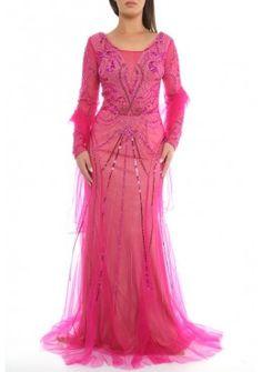 Langarm Pailletten 2017 Abendkleid Elisa Pink