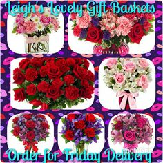 Fresh flowers for your Valentine with Same Day Delivery by a network florist!  While many of these bouquets are available throughout the year, the top two bouquets are only available for Valentine's Day. .