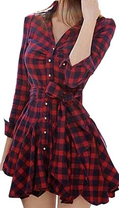 CANDAY Women's Sexy V Neck Button Plaid Printed Short Dress