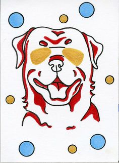 Rottweiler whimisical miniature art ACEO by ClarityArtDesign