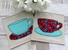 Turquoise Cup Coasters - Set of 2 Fabric Coasters - Table Decoration £12.00