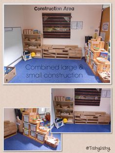 Large and small construction area (summer term) Preschool Block Area, Preschool Centers, Preschool At Home, Reggio Classroom, Classroom Layout, Classroom Setting, Preschool Classroom, Kindergarten, Construction Area Eyfs