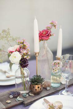 bottle arrangements + stones + gold candleholders || Rock Quarry Wedding Inspiration from Vintage My Wedding