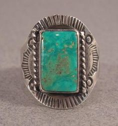 This GREAT, OLD Fred Harvey Trading Post era Native American NAVAJO Indian sterling silver ring