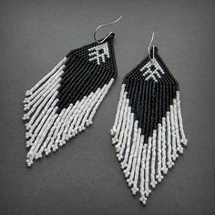 Beautiful dangle beaded earrings with fringe. Native American inspired (not made). My original design. Earrings made of Japanese seed beads.