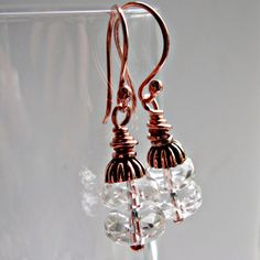 Copper Facet Cut Rock Crystal Vintage Style by ShooglyBeads, £15.00