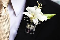 Remembering Loved Ones on Your Wedding Day-add a photo on your boutonniere www.celebrationsbykat.com