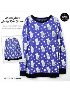 Music Bear Pattern Bulky Knit Cutsew / See more at http://www.cdjapan.co.jp/apparel/new_arrival.html?brand=LIS #harajuku