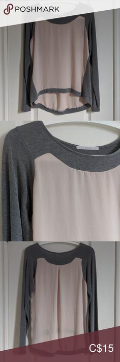"K B F gray/ sheer long-sleeve top (Korean brand) Gray sleeves in a stretchy material that does not pill; body is a sheer blush-colour flowy material.  Made in Korea. Condition: 7/10 (in good condition, no stains, machine-washable) Length: 22"" front, 27"" back Chest: 18.5"" K B F Tops Blouses"