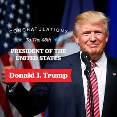 Donald J. Trump - 45th President of the USA | December 19, 2016 - It's official. The Electoral College has elected Donald J. Trump President of the United States and Governor Mike Pence Vice President.