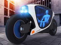 The Cyclotron, an imagined enclosed driverless motorcycle, would accommodate two passengers facing each other.