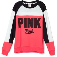 Collegiate Crew PINK ($55) ❤ liked on Polyvore featuring tops, sweaters, shirts, shirt sweater, pink sweater, crew sweater, red shirt and collegiate shirts
