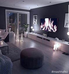 home decor Cozy living room dark wall gray taupe black light sofa wooden floor Dark Walls Living Room, Living Room Decor Cozy, Living Room Modern, Home Living Room, Apartment Living, Interior Design Living Room, Living Room Designs, Dark Wooden Floor Living Room, Cozy Room