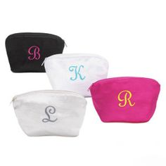Small Cosmetic Bag is made of soft satin with a silk dupioni look. The bag is lined with water repellant vinyl and have a zipper closure. Bag measures 6 x Embroider with a single initial in choice of signature thread colors.