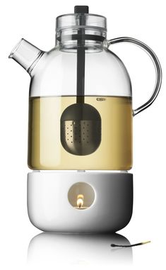 Menu Kettle Teapot, Glass, with Tea Egg, shown with separate Tea Heater.