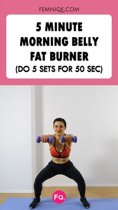 5 Minute Morning Belly Fat Workout - 5 Minute Morning Belly Fat Workout Only got 5 minutes to workout? This workout got you covered. Belly Fat Workout, Butt Workout, Dumbbell Workout, Fitness Workout For Women, Fitness Tips, Summer Fitness, Health Fitness, Fitness Motivation, Morning Workout Motivation
