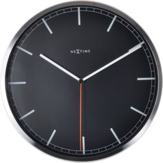 """The NeXtime """"Company Stripe"""" is a silent wall clock in a modern and professional style. This analog clock made of glass with an aluminum case. Minimalist Wall Clocks, Big Wall Clocks, Picture Company, London Clock, Pendulum Wall Clock, Wall Clock Design, Striped Walls, Red Candy, Office Walls"""