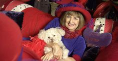 #red purple #red hats #red hat society  Yes, but do you see that beautiful little Bichon-Frise in her lap!!