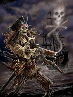 Art by Anne Stokes (Ironshod) Pirate * Fantasy Myth Mythical Mystical Legend Elf Elves Sword Sorcery Magic Witch Wizard Sorceress Demon Dark Gothic Goth Demoness Darkness Castle Dungeon Realm Dreamscapes Skull Reaper Pirate Skeleton, Pirate Art, Pirate Skull, Pirate Life, Pirate Ships, Skeleton Warrior, Pirate Halloween, Skeleton Art, Anne Stokes