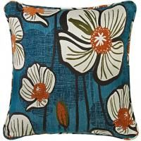 """ALOHA! 18"""" x 18"""" Pillow in Midnight Teal & Orange Floral"""