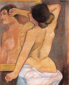 Suzanne Valadon, Nude from the Back in Front of a Mirror, 1910-- what an interesting concept.