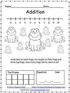 KINDERGARTEN: Addition and Subtraction Word Problems - number line, ten frame, and equation Preschool Math, Math Classroom, Kindergarten Math, Fun Math, Teaching Math, Math Activities, Math Games, Kindergarten Addition, Word Games