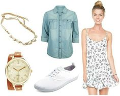 Back to school dress shopping outfit chambray top sneakers