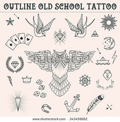 Old school tattoo set: owl, feather, paper boat, moon, sun, swallows, diamond, crown, game cards, anchor, star. - stock vector