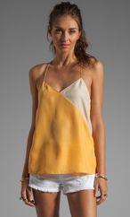 Tibi Colorblocked Silk Cami in Honey/Blush Multi from REVOLVEclothing.com