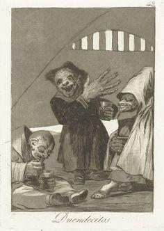 Francisco José de Goya y Lucientes   Kobolds, Francisco José de Goya y Lucientes, 1797 - 1799   Drie kleine mensen met zeer grote handen en groteske gezichten, elke met een beker in de hand. Negenenveertigste prent uit de serie Los Caprichos.