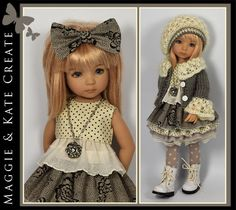 """Cream & Gray Outfit for Little Darlings Dianna Effner 13"""" Maggie & Kate Create #DiannaEffner"""
