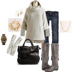 """cowlneck poncho uniform"" by shopwithm on Polyvore"