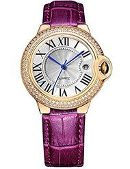 BINGER Womens Date Dress Watch Gold Roman Numerals with Diamond and Burgundy Leather Strap by Binger $15.99$85.99Prime FREE Shipping on eligible orders Show only Binger items 4.8 out of 5 stars 4
