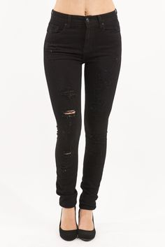 "Super High Waist Black Distressed Skinny Jean by Eunina Jeans. Yes, they are stretchy and fit perfectly too!  Featuring distressed, ripped detail on thighs and knees, with 5 pocket detail. These jeans have amazing stretch! Made of 98% cotton and 3% spandex, with a 6"" rise and 32"" inseam."