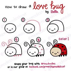 how to doodle a love bug. easy way to draw a lady bug. doodles with bella