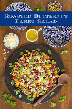 This Butternut Farro Salad is hearty and healthy! It includes roasted grapes and lots of fresh herbs. Perfect for lunch or dinner! #fallsalad #healthysalad #butternutsquash Lunch Recipes, Beef Recipes, Whole Food Recipes, Breakfast Recipes, Chicken Recipes, Dinner Recipes, Healthy Salads, Healthy Recipes, Farro Salad