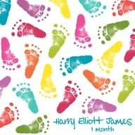 Baby foot print art idea- let them walk on a white bed sheet!
