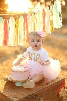 Pink and Gold First Birthday Tutu Set (3-piece set)! Custom SEWN Baby Pink Tutu with Gold Glitter One Bodysuit and Glitter Flower Headband   The TUTU