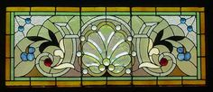 "Antique American Stained/Beveled and Jeweled Glass Window 37.5"" x 29"" fid9006"