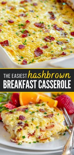 A back to school breakfast idea you can prepare ahead! This Easy Hashbrown Breakfast Casserole is the best. Versatile and customizable, this recipe is designed to feed a crowd. Made with hashbrowns, eggs, bacon, and cheese, this savory meal is perfect for entertaining! Quick Healthy Breakfast, Homemade Breakfast, Breakfast Ideas, Back To School Breakfast, Breakfast Bake, Brunch Recipes, Easy Dinner Recipes, Simple Recipes, Yummy Recipes