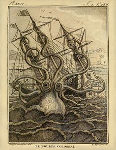Giant Octopus/Kraken On A Raging Sea 8 x 10 by AdamsAleArtPrints, $9.99