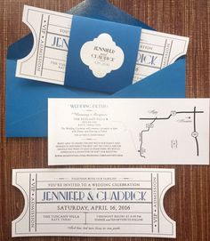 Vintage Cinema Ticket Wedding Invitation Suite par papercakedesigns