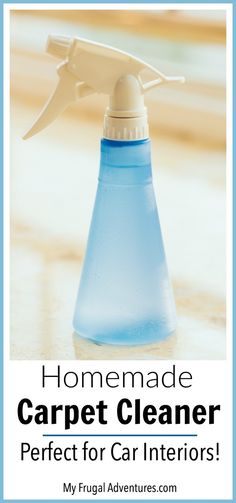 DIY Spot Carpet Cleaner {perfect for cars!} - My Frugal Adventures Spot carpet cleaning solution. So simple and it works wonders on little stains in the home or in your car interior! Wait until you see the before and after pictures! Deep Cleaning Tips, House Cleaning Tips, Diy Cleaning Products, Cleaning Solutions, Spring Cleaning, Cleaning Hacks, Green Cleaning, Cleaning Supplies, Cleaning Wipes