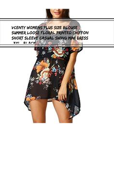 general3 Women Beach Style Floral Printed Sleeveless V-Neck Loose Camise Maxi Dress