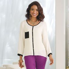 Contrast Pocket Top  from Monroe and Main. Fashion Fit for You in Misses & Plus Sizes. www.monroeandmain.com